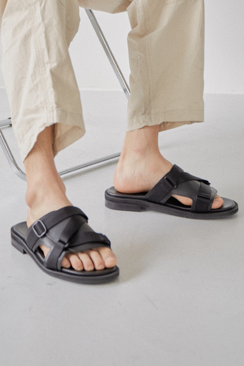 [SUMMER SALE]요크 웨빙밴드 슬리퍼 R20M107 (블랙)Yoke Webbing Band Slipper R20M107 (Black)
